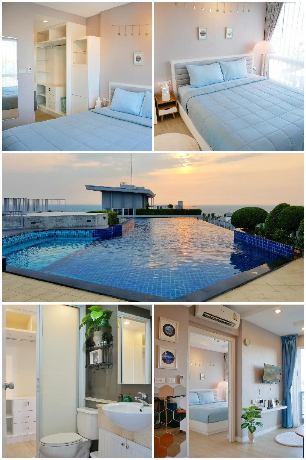 Luxury 1 bedroom & rooftop pool with sea view อพาร์ตเมนต์ 1 ห้องนอน 1 ห้องน้ำส่วนตัว ขนาด 36 ตร.ม. – บางแสน