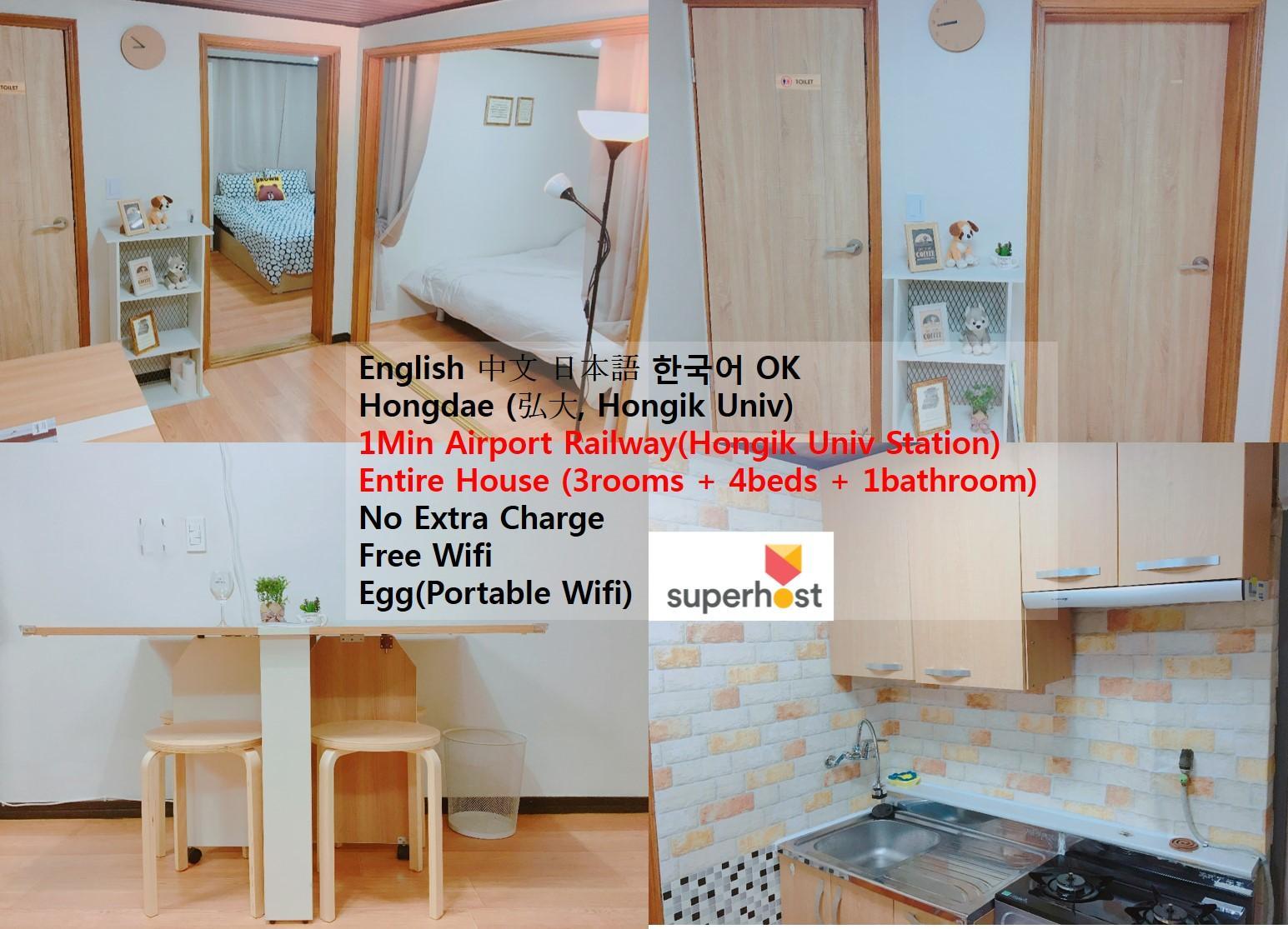 Brand New Interior 3room 4bed 2min Hongdae Stn