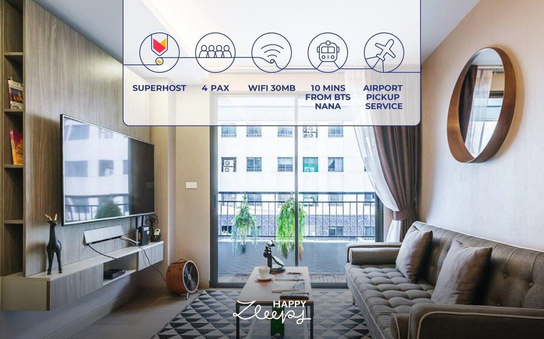 HappyZleepy S7 28 2mins to Nana BTS/30Mb Wifi/4pax อพาร์ตเมนต์ 1 ห้องนอน 1 ห้องน้ำส่วนตัว ขนาด 40 ตร.ม. – สุขุมวิท