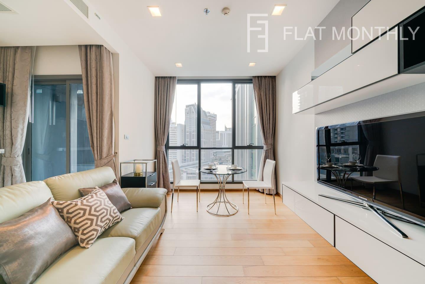 Modern  1 BR w/City view + BTS Nana by FlatMonthly สตูดิโอ อพาร์ตเมนต์ 0 ห้องน้ำส่วนตัว ขนาด 30 ตร.ม. – สุขุมวิท
