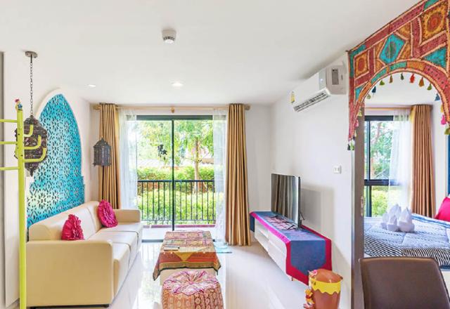 อพาร์ตเมนต์ 1 ห้องนอน 1 ห้องน้ำส่วนตัว ขนาด 35 ตร.ม. – ใจกลางเมืองหัวหิน – Blu Roc Morrocan Style
