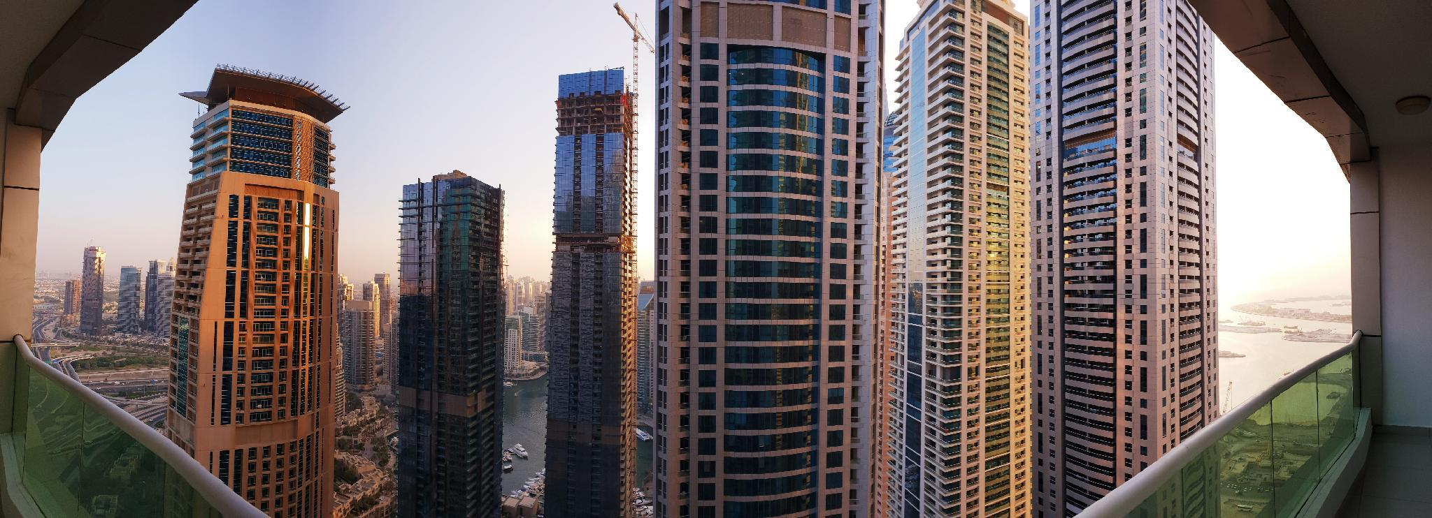 180 Degree View Of Palm And Marina