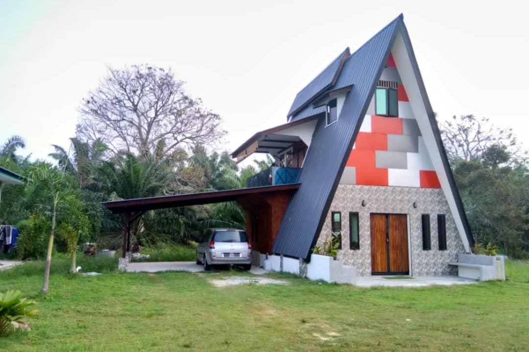Unique A Shape Guest House With Vintage Design